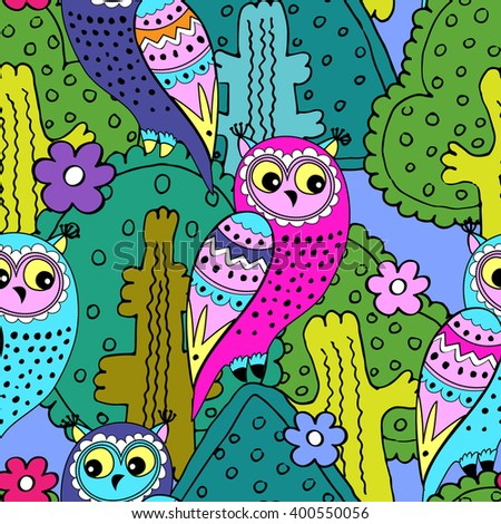 Vector seamless pattern with owls and trees. Pink, violet, green, blue - stock vector