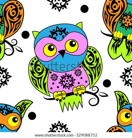 Vector seamless pattern with owls. Green, blue, pink, black, white, yellow - stock vector