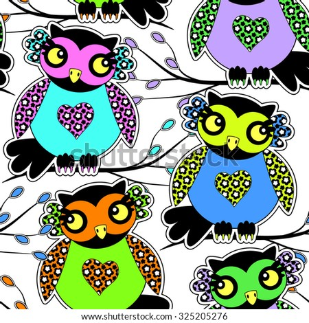 Vector seamless pattern with owls 4. Green, yellow, blue, violet, orange, pink. - stock vector