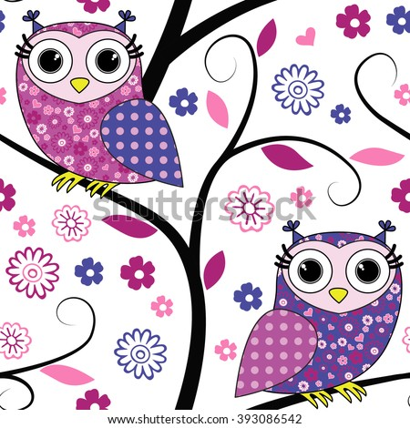 Vector seamless pattern with owls on a tree.  - stock vector