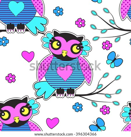 Vector seamless pattern with owls on a tree. Owls and butterfly and flowers. - stock vector