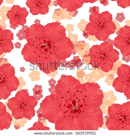 Vector seamless pattern with peach red flowers on white background. Ornament made from watercolor hand painted elements.