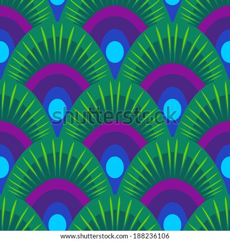 Vector seamless pattern with peacock feathers - stock vector