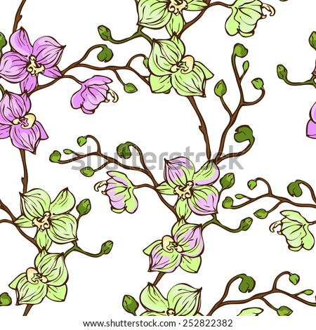 Vector seamless pattern with pink and green orchid flowers on white background - stock vector