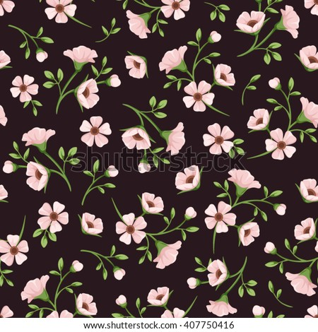 Vector seamless pattern with pink flowers and green leaves on a dark purple background.