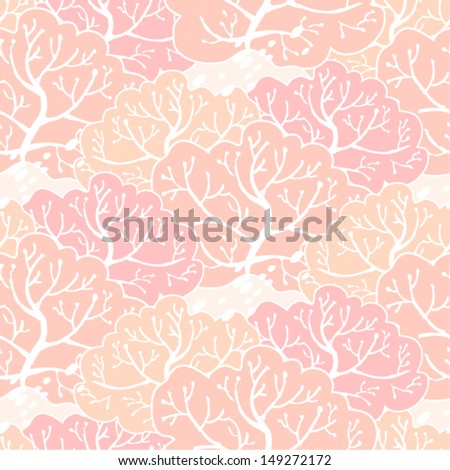 Vector seamless pattern with pink forest - stock vector