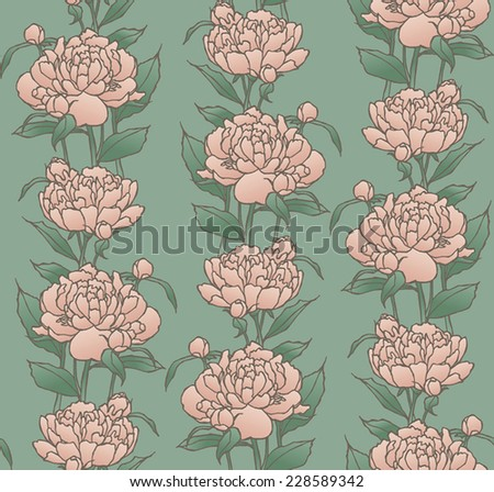 vector seamless pattern with pink peonies in pastel colors