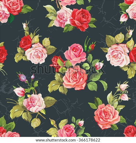 Vector Seamless pattern with pink roses - stock vector