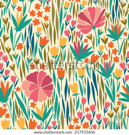 Vector seamless pattern with pink summer flower. It can be used for desktop wallpaper or frame for a wall hanging or poster,for pattern fills, surface textures, web page backgrounds, textile and more. - stock vector