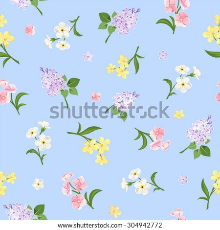 Vector seamless pattern with pink, yellow, white and purple flowers on a blue background. - stock vector