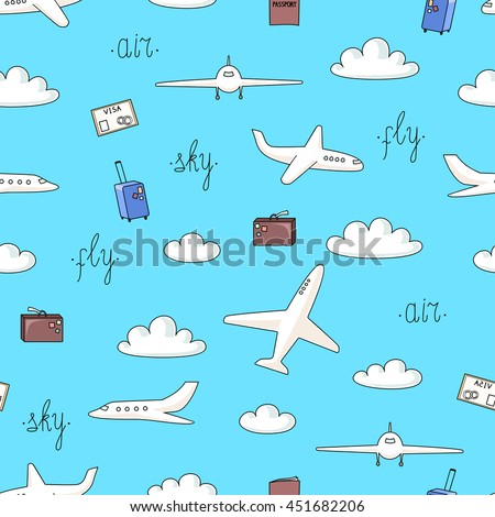 Vector seamless pattern with planes and things connected with flights on blue background  - stock vector