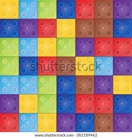 Vector seamless pattern with Plastic constructor blocks - stock vector