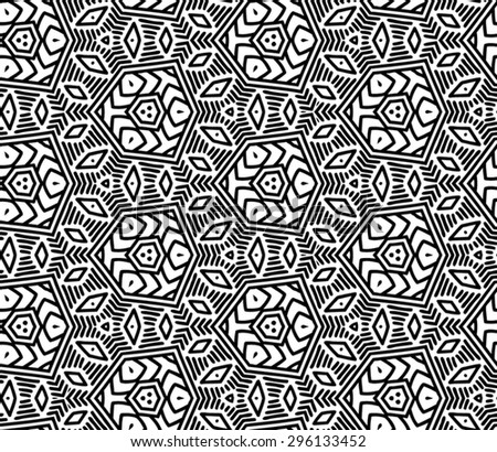 Vector seamless pattern with polygonal flowers. Geometric stylish background. Vector repeating texture. Modern graphic design. Graphic ornament. - stock vector