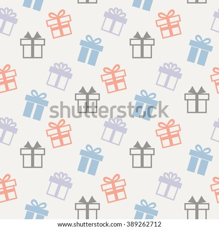 Vector seamless pattern with present icons on a white background