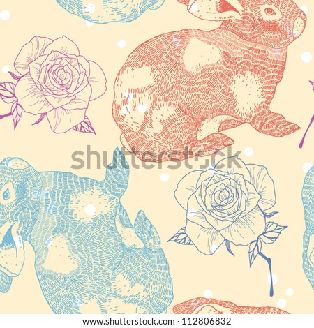 vector  seamless pattern with rabbits and roses - stock vector