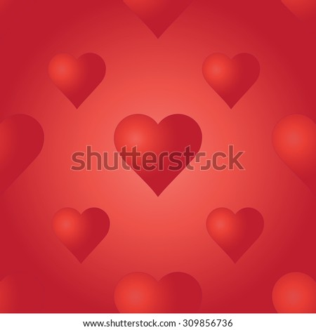 Vector seamless pattern with red hearts. Bright background. Wedding or Valentine's Day texture. Love template. Romantic backdrop.  - stock vector