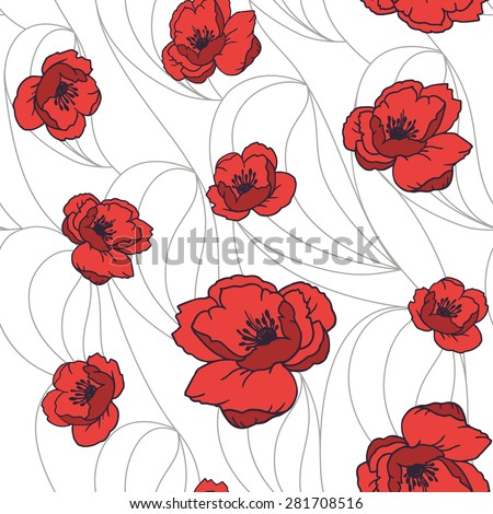 Vector seamless pattern with red poppy flowers on white background - stock vector