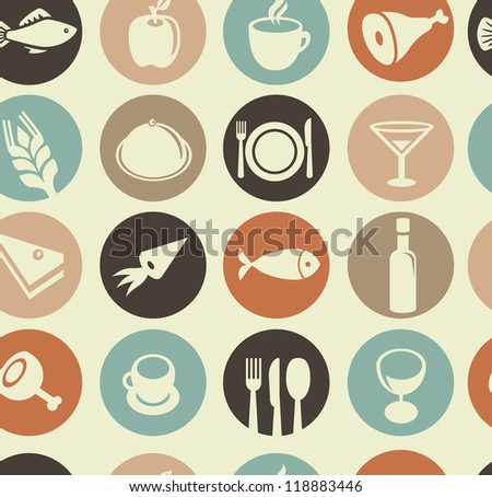 Vector seamless pattern with restaurant and food icons