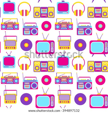 Vector Seamless Pattern with Retro Media technology, flat icons set, of tv, radio, headphones, stereo system, tape recorder