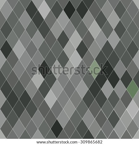 Vector seamless pattern with rhombs. Abstract gray texture. Geometrical background. Monochrome backdrop.