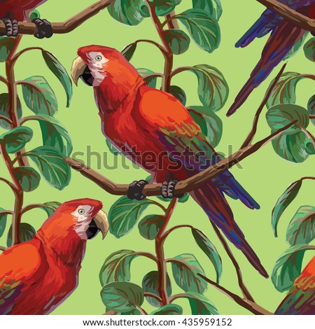 Vector seamless pattern with scarlet macaw and plants on green background. EPS8 file. - stock vector