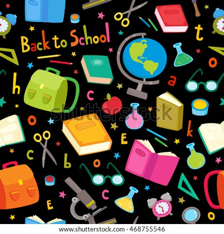 Vector seamless pattern with school elements isolated on black background. Back to school background: backpack, books, pencils, pens, paint brush, glasses, microscope, globe, tubes, letters and stars.