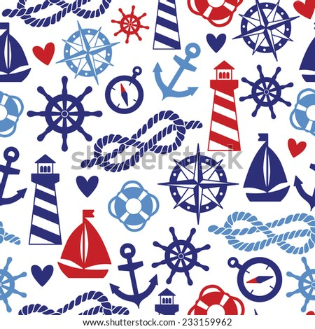 Vector seamless pattern with sea elements: lighthouses, ships, anchors. Can be used for wallpapers, web page backgrounds. - stock vector
