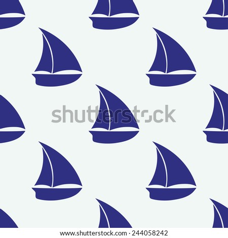 Vector seamless pattern with sea elements: small ship - stock vector