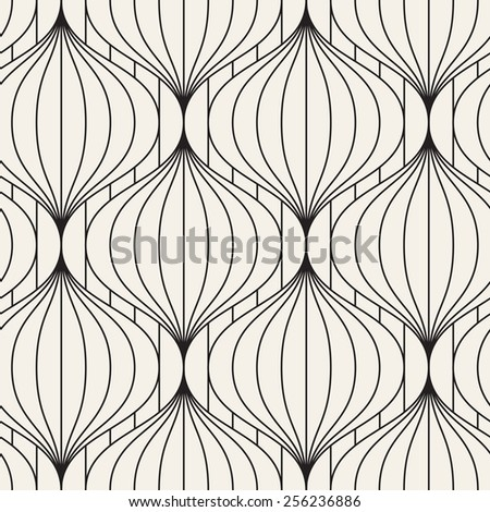 Vector seamless pattern with sheaf of lines. Modern stylish texture. Geometric striped ornament. Monochrome linear waves - stock vector