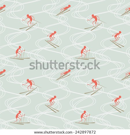 Vector seamless pattern with skiers and ski tracks. - stock vector