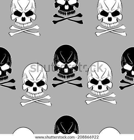 Vector Seamless pattern with skulls and bones gray background - stock vector