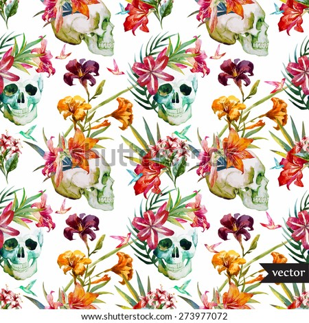 Vector seamless pattern with skulls and lily flowers,vector wallpaper - stock vector
