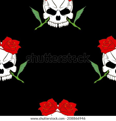 Vector Seamless pattern with skulls and rose black background - stock vector