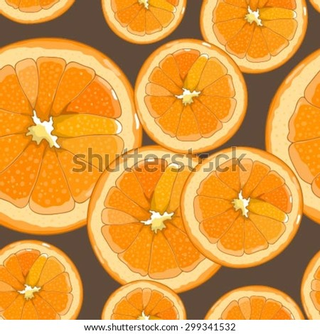 Vector seamless pattern with slices of orange