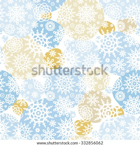 Vector seamless pattern with snowflakes and snowballs. Pastel ornate element for New Year's and Merry Christmas design. Vintage ornamental lace background. Elegant winter lacy decor. - stock vector