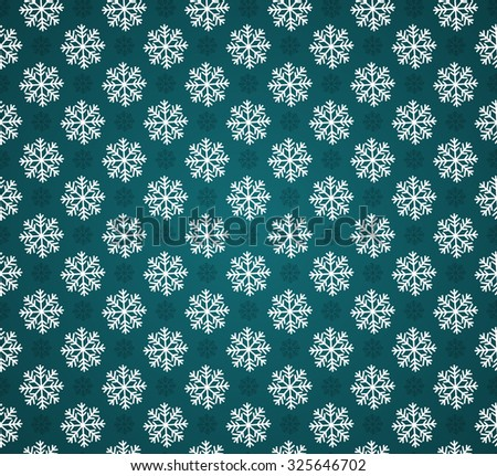 Vector seamless pattern with snowflakes on cyan background. Dark green and white christmas seamless texture. For web and print design. Winter and christmas theme. Snowflakes background