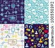 vector seamless pattern with social media icons - stock vector