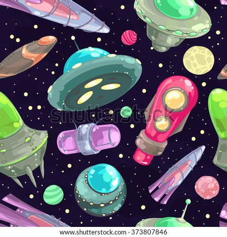 Vector seamless pattern with spaceships, stars and planets. Space cartoon background. - stock vector