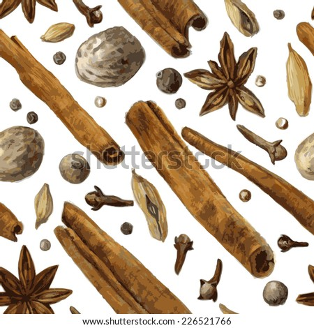 vector seamless pattern with spice, drawing by watercolor, hand drawn vector illustration - stock vector