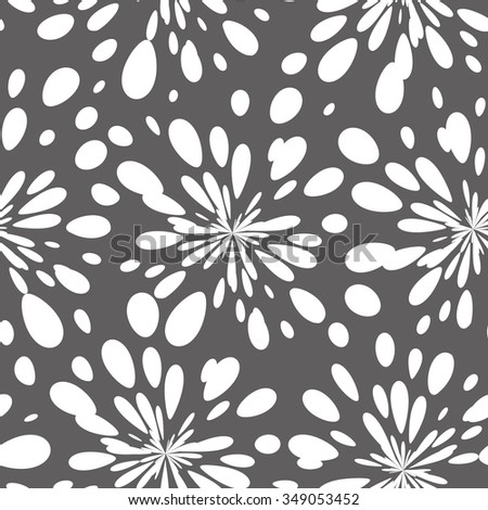 Vector seamless pattern with spots. Modern repeating texture. Fancy monochrome spots, stylized fireworks - stock vector