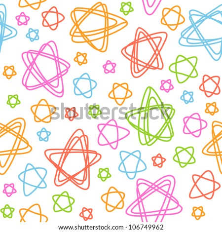 Vector seamless pattern with stars of doodles. Abstract colorful background. Simple stylized  illustration in childish hand drawn style. Texture for print, web, wallpaper, textile, cover, paper