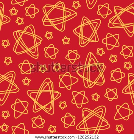 Vector seamless pattern with stars of doodles. Abstract red ornamental cute background. Simple illustration with stylized sky in childish hand drawn sketch style. Decorative texture for print, web