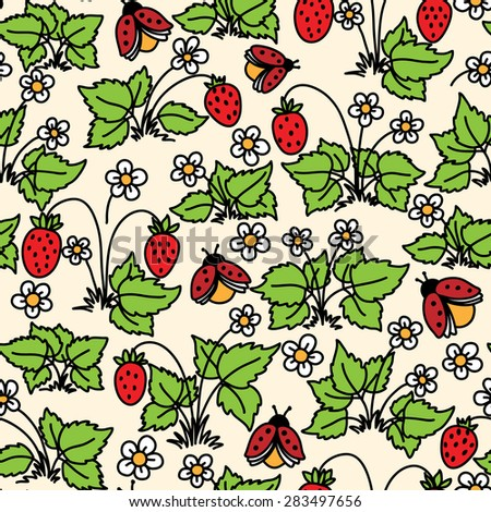 Vector seamless pattern with strawberry, flowers and ladybugs - stock vector