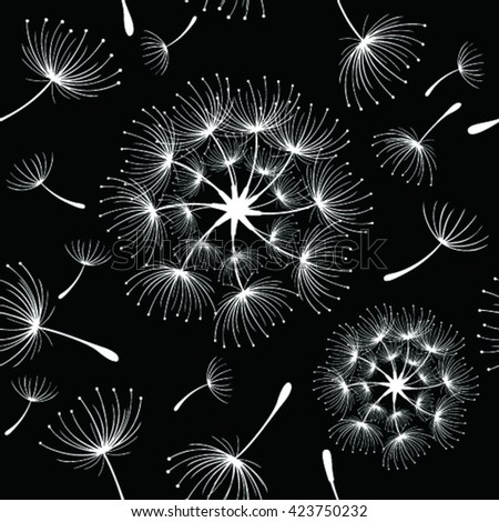 Vector seamless pattern with stylized dandelions. Modern repeating texture.  - stock vector