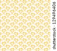 Vector seamless pattern with stylized hearts of gold ribbons. Romantic light decorative graphic background Valentines Day's, wedding, Christmas. Simple drawing ornamental illustration for print, web - stock vector