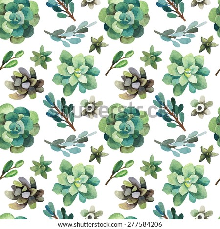 Vector seamless pattern with succulents and branches in watercolor style. Spring forest background. Watercolor background for paper, wallpaper, fabrics, invitations and other items. - stock vector