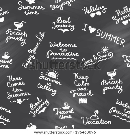 vector seamless pattern with summer handwritten letterings and symbols - stock vector
