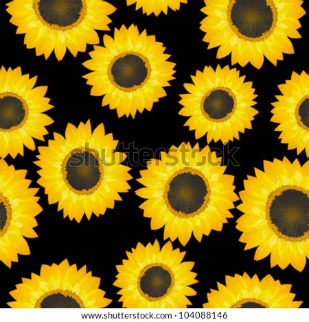 Vector seamless pattern with sunflowers over black background. - stock vector