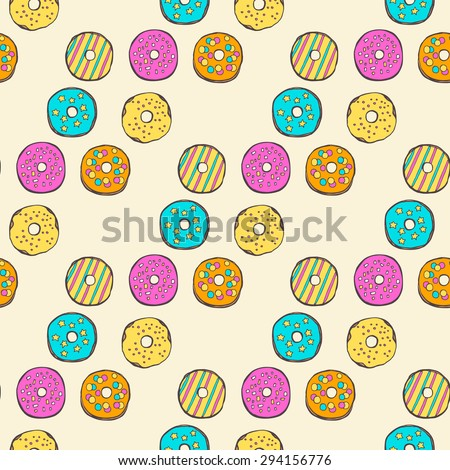 Vector seamless pattern with sweet donuts. Yellow, pink, mint colors. - stock vector