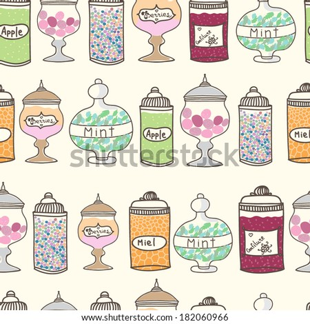 Vector seamless pattern with  sweets in jars - stock vector